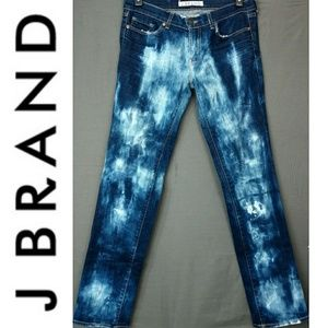J Brand Acid Washed Straight Leg Low Rise Jeans